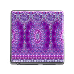 India Ornaments Mandala Pillar Blue Violet Memory Card Reader (square) by EDDArt