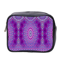 India Ornaments Mandala Pillar Blue Violet Mini Toiletries Bag 2 Side by EDDArt