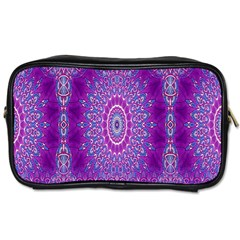 India Ornaments Mandala Pillar Blue Violet Toiletries Bags by EDDArt