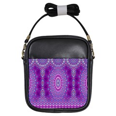 India Ornaments Mandala Pillar Blue Violet Girls Sling Bags by EDDArt