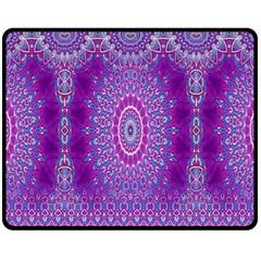 India Ornaments Mandala Pillar Blue Violet Fleece Blanket (medium)  by EDDArt