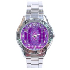 India Ornaments Mandala Pillar Blue Violet Stainless Steel Analogue Watch by EDDArt