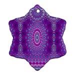 India Ornaments Mandala Pillar Blue Violet Snowflake Ornament (2-Side)