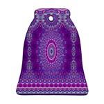 India Ornaments Mandala Pillar Blue Violet Bell Ornament (2 Sides)