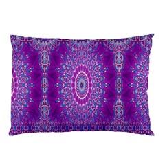 India Ornaments Mandala Pillar Blue Violet Pillow Case (two Sides) by EDDArt