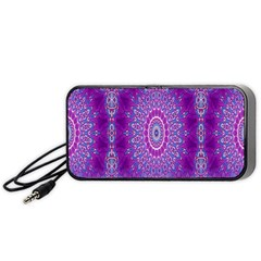 India Ornaments Mandala Pillar Blue Violet Portable Speaker (black)  by EDDArt
