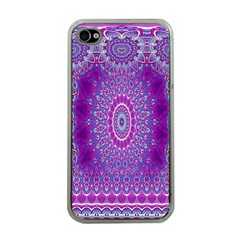 India Ornaments Mandala Pillar Blue Violet Apple Iphone 4 Case (clear) by EDDArt