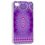 India Ornaments Mandala Pillar Blue Violet Apple iPhone 4/4s Seamless Case (White)