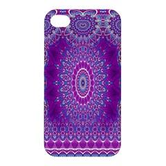 India Ornaments Mandala Pillar Blue Violet Apple Iphone 4/4s Hardshell Case by EDDArt