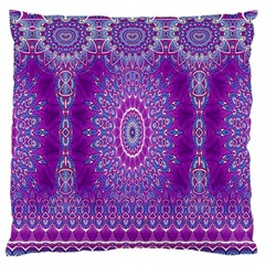 India Ornaments Mandala Pillar Blue Violet Large Cushion Case (one Side) by EDDArt
