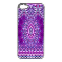 India Ornaments Mandala Pillar Blue Violet Apple Iphone 5 Case (silver) by EDDArt
