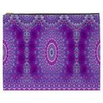 India Ornaments Mandala Pillar Blue Violet Cosmetic Bag (XXXL)