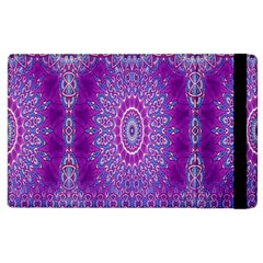 India Ornaments Mandala Pillar Blue Violet Apple Ipad 3/4 Flip Case by EDDArt