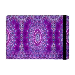 India Ornaments Mandala Pillar Blue Violet Apple Ipad Mini Flip Case by EDDArt