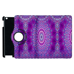 India Ornaments Mandala Pillar Blue Violet Apple Ipad 3/4 Flip 360 Case by EDDArt