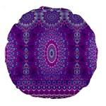 India Ornaments Mandala Pillar Blue Violet Large 18  Premium Round Cushions