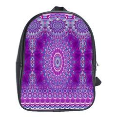 India Ornaments Mandala Pillar Blue Violet School Bags (xl)  by EDDArt