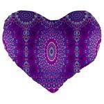 India Ornaments Mandala Pillar Blue Violet Large 19  Premium Heart Shape Cushions