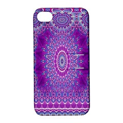 India Ornaments Mandala Pillar Blue Violet Apple Iphone 4/4s Hardshell Case With Stand by EDDArt