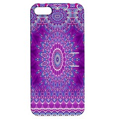 India Ornaments Mandala Pillar Blue Violet Apple Iphone 5 Hardshell Case With Stand by EDDArt