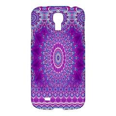 India Ornaments Mandala Pillar Blue Violet Samsung Galaxy S4 I9500/i9505 Hardshell Case by EDDArt
