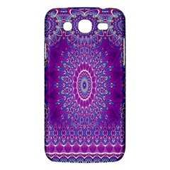 India Ornaments Mandala Pillar Blue Violet Samsung Galaxy Mega 5 8 I9152 Hardshell Case  by EDDArt