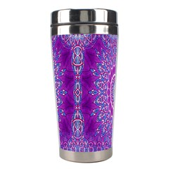India Ornaments Mandala Pillar Blue Violet Stainless Steel Travel Tumblers by EDDArt