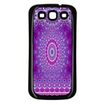 India Ornaments Mandala Pillar Blue Violet Samsung Galaxy S3 Back Case (Black)