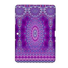 India Ornaments Mandala Pillar Blue Violet Samsung Galaxy Tab 2 (10 1 ) P5100 Hardshell Case  by EDDArt