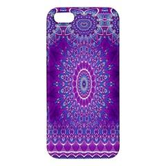 India Ornaments Mandala Pillar Blue Violet Iphone 5s/ Se Premium Hardshell Case by EDDArt