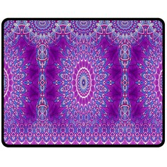 India Ornaments Mandala Pillar Blue Violet Double Sided Fleece Blanket (medium)  by EDDArt