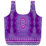 India Ornaments Mandala Pillar Blue Violet Full Print Recycle Bags (L)