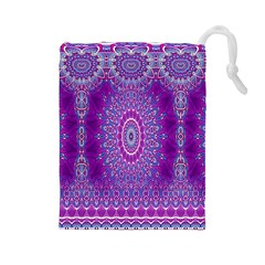India Ornaments Mandala Pillar Blue Violet Drawstring Pouches (large)  by EDDArt