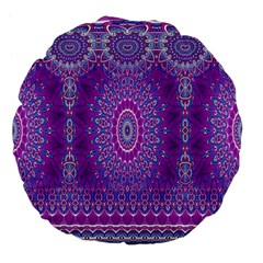 India Ornaments Mandala Pillar Blue Violet Large 18  Premium Flano Round Cushions by EDDArt