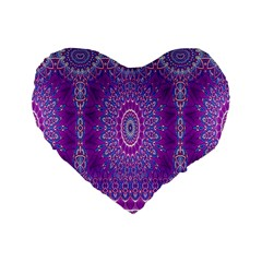 India Ornaments Mandala Pillar Blue Violet Standard 16  Premium Flano Heart Shape Cushions by EDDArt
