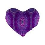 India Ornaments Mandala Pillar Blue Violet Standard 16  Premium Flano Heart Shape Cushions