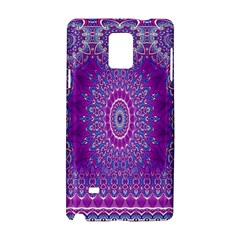 India Ornaments Mandala Pillar Blue Violet Samsung Galaxy Note 4 Hardshell Case by EDDArt