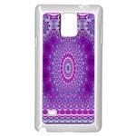 India Ornaments Mandala Pillar Blue Violet Samsung Galaxy Note 4 Case (White)