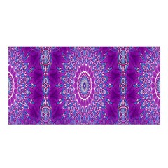 India Ornaments Mandala Pillar Blue Violet Satin Shawl by EDDArt