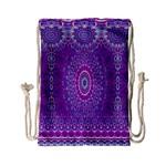 India Ornaments Mandala Pillar Blue Violet Drawstring Bag (Small)