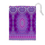 India Ornaments Mandala Pillar Blue Violet Drawstring Pouches (Extra Large)