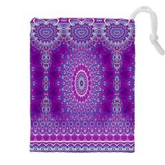 India Ornaments Mandala Pillar Blue Violet Drawstring Pouches (xxl) by EDDArt