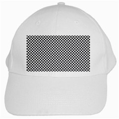 Sports Racing Chess Squares Black White White Cap by EDDArt