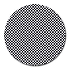Sports Racing Chess Squares Black White Round Mousepads by EDDArt