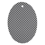 Sports Racing Chess Squares Black White Ornament (Oval)