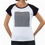 Sports Racing Chess Squares Black White Women s Cap Sleeve T
