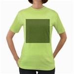 Sports Racing Chess Squares Black White Women s Green T-Shirt