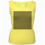 Sports Racing Chess Squares Black White Women s Yellow Tank Top