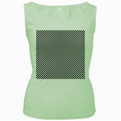 Sports Racing Chess Squares Black White Women s Green Tank Top by EDDArt