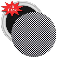 Sports Racing Chess Squares Black White 3  Magnets (10 Pack)  by EDDArt